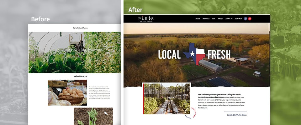 pnf before and after farm website redesign