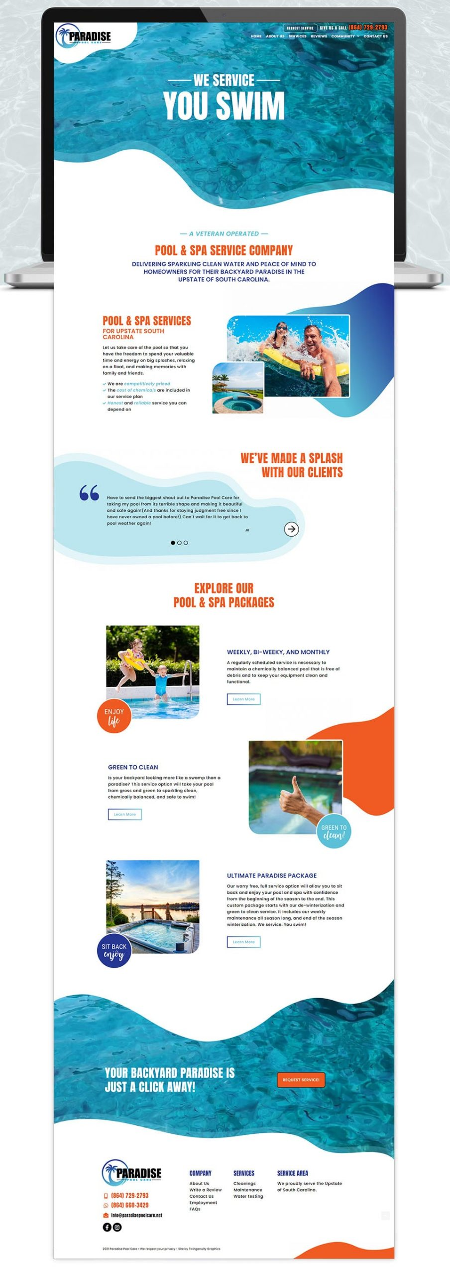 pool website home page design